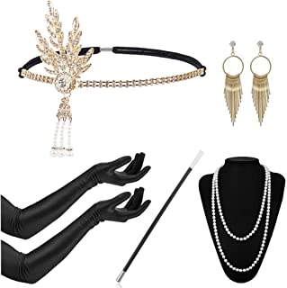 1920s Accessories Headband Earrings Necklace Gloves 20s Flapper Gatsby Costume Accessories Set