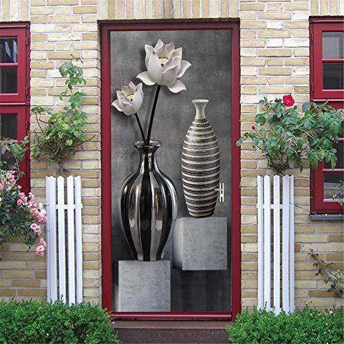 MACHINE BOY Interior Door Bedroom Living Room Bathroom House Decorative 3D Door Wall Office Art Door Sticker White Flower vase Illustration Size 90 * 200cm
