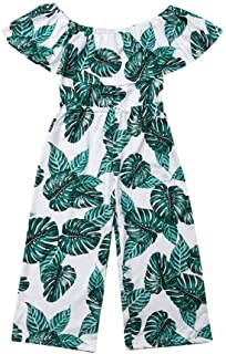 41686fd2bcc0 Kids Toddler Girls Palm Leaf Pattern Ruffle Off Shoulder Romper Jumpsuit  Wide Leg Pants Outfit One