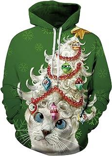 9a2af0da85357 Pull de Noel Homme Sweat a Capuche Pull Moche de Noël Lumineux Drole Sweat  Shirt Kitsch