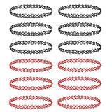 BodyJ4You 12PC Choker Necklace Set Black Red Henna Tattoo Stretch Elastic Women Girl Jewelry Gift Pack