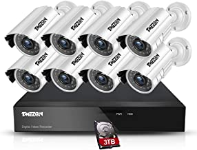 TMEZON 1080N Security Camera System,8CH 720P Video Surveillance System,8pcs 1500TVL Wired Outdoor/Indoor IP Cameras,P2P,65...