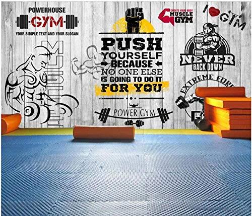 MINCOCO aangepaste muurschildering 3D kamer behang vintage plank sport fitness club afbeelding muurschildering 3D muurschilderingen behang 400 x 280 cm.