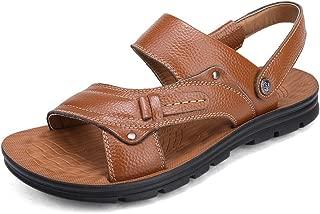 U-MAC Men's Leather Sport Sandals Summer Outdoor Open Toe Beach Shoes Casual Non-Slip Fisherman Slippers