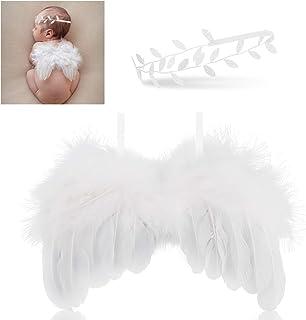 Hifot recien nacido fotografia kit, Bebe plumas ángel alas con diadema set, bebe fotografía Accesorios prop disfraz