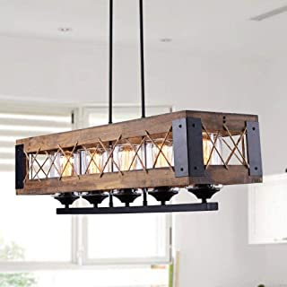 LALUZ Farmhouse Kitchen Island Wood Hanging Light Fixture A03145, 5 Glass Globes, Linear Chandelier for Dining Rooms