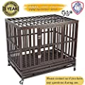 Gelinzon Heavy Duty Dog Crate Cage Kennel Playpen Large Strong Metal for Large Dogs and Pets with Patent Lock and Four Lockable Wheels, Easy to Assemble