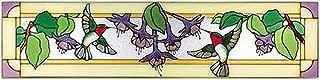 Silver Creek Hummingbirds Fuchsia Horizontal Art Glass Panel 9 x 35