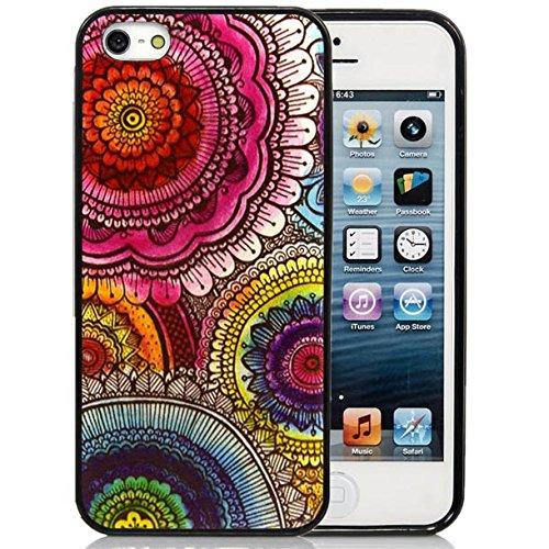 iPhone 5C Case,iPhone 5C Black Case, Dsigo TPU Full Cover Protective Case for New Apple iPhone 5C - Retro floral