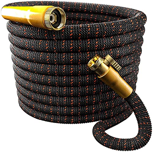 TBI Pro Garden Hose Expandable and Flexible - Super Durable 3750D Fabric   4-Layers Flex Strong Latex   No-Rust Brass Connectors with Pocket Protectors - Water Hoses for Gardening (50FT Only)