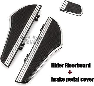 Black CNC Defiance Rider Footboard Kit + brake pedal cover for touring street glide FLHX driver floorboards FLHR FLTR FLHT Footboards softail slim Street Glide Special FLHXS 14-19