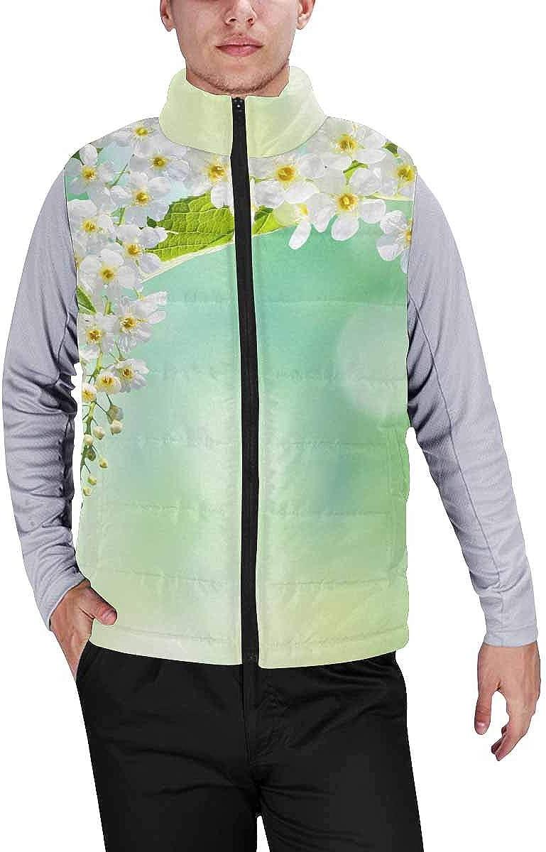 InterestPrint Men's Winter Lightweight Sleeveless Padded Vest SpringLavender Flower