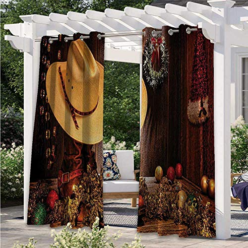 Outdoor Patio Curtains Farmhouse with Christmas Decorations with Wreath Americana Style Image Print Waterproof Patio Door Panel Beautify Your Outdoor Area Cream Brown W120 x L96 Inch
