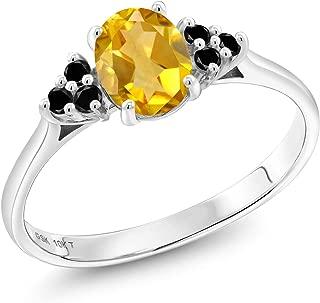 0.90 Ct Oval Yellow Citrine Black Diamond 10K White Gold Ring
