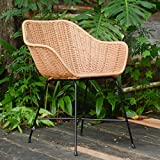 Casa Moro Barcelona Rattan Armchair with Armrests - Made of Natural Rattan Hand Woven - Premium Quality Wicker Chair | Vintage Retro Chair for Kitchen Garden Patio Dining Room | IDSN52