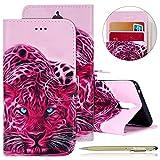 Kompatibel mit Handytasche Huawei Mate 9 Pro Lederhülle Flip Tasche Handy Schutzhülle Retro Klapphülle Handyhülle Brieftasche Etui Ledertasche Bookstyle Handycover Leder Flipcase,Rosa Leopard