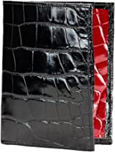 product image for Passport Wallet in Black and Red Alligator by John Allen Woodward