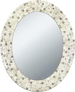 Head West Travertine Mosaic Oval Mirror, 24 by 30-Inch