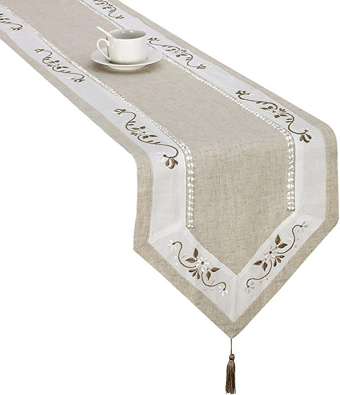 Handmade Hemstitched Classic Embroidered Natural Table Runners 15x106 Inch