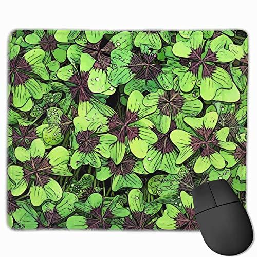 Grüne Pflanzen Kleeblätter Kunst Anti-Rutsch-personalisierte Designs Gaming Mouse Pad Schwarzes Stoff Rechteck Mousepad Art Naturkautschuk Mausmatte mit genähten Kanten