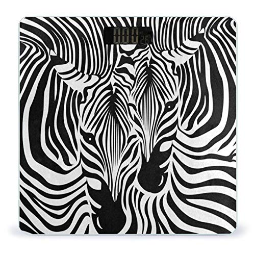 OcuteO Weight Scale Funny Zebra Leopard Print Digital Scales for Body Weight Smart Bathroom Weighing Scale for Women Men Ladies Kids Teen Girls Boys Wireless Scale Large