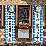 Oktoberfest Decorations Bavarian Check Flag...