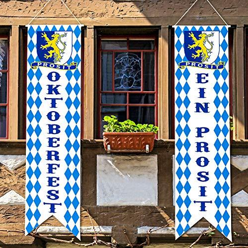 Oktoberfest Zeichen Banner Oktoberfest Dekoration Set Oktoberfest Veranda Zeichen Willkommen Banner Oktoberfest Hängende Dekoration für Indoor, Outdoor Dekoration Party Zubehör (Blau47,2 x 11,8 Zoll)
