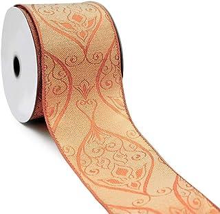 CT CRAFT LLC Bronze Jacquard Damask Wired Ribbon - 2.5 Inch x 10 Yards x 1 Roll