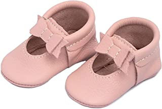 Rubber Mini Sole Leather Ballet Flat Bow Toddler Girl Moccasins - Infant/Toddler Sizes 3-7 - Multiple Colors