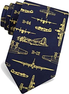 100% Silk Blue Flying Fortress WWII Bomber Military Airplane Skinny Narrow Tie Necktie
