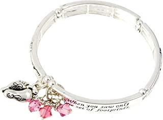 Footprints in The Sand Bracelet with 3 Swarovski Crystal Charms (Pink)