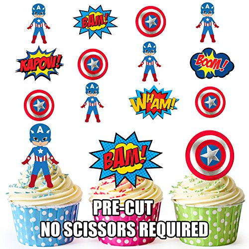 PRE-Cut Captain America Superhero - Eetbare Cupcake Toppers/Cake Decoraties (Pak van 12)