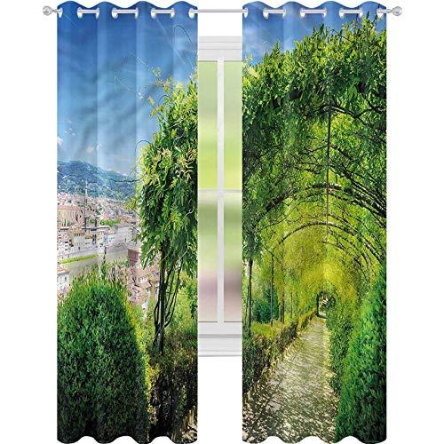 "YUAZHOQI Room Darkening Blackout Curtains Italian Boboli Gardens in Florence Decorative Curtains for Living Room 52"" x 108""(2 Panels)"