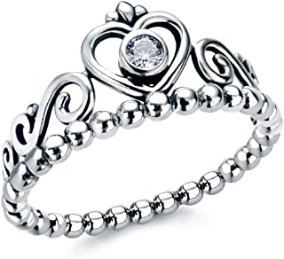 heart crown silver ring