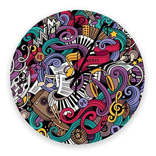 Reloj de pared artístico para decoración de sala de estar, instrumentos abstractos con temática musical, micrófono, batería, teclado, Stradivarius, elegante, silencioso, funciona con pilas, co