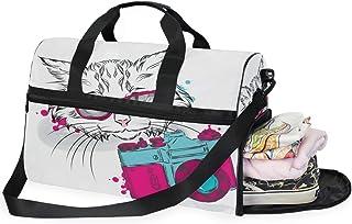 Large Duffle Bag Cute Cat With The Camera Gym Sport Travel Weekender Bag Handbag for Women Men
