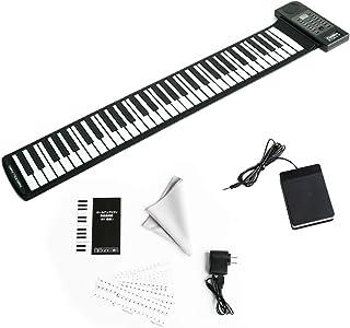 カリーナ ロールアップキーボードピアノ 61鍵 128種類音色 128種リズム 45デモ曲 イヤホン スピーカー対応 初心者向 日本語 英語説明書 音符シール ピアノクロス付属