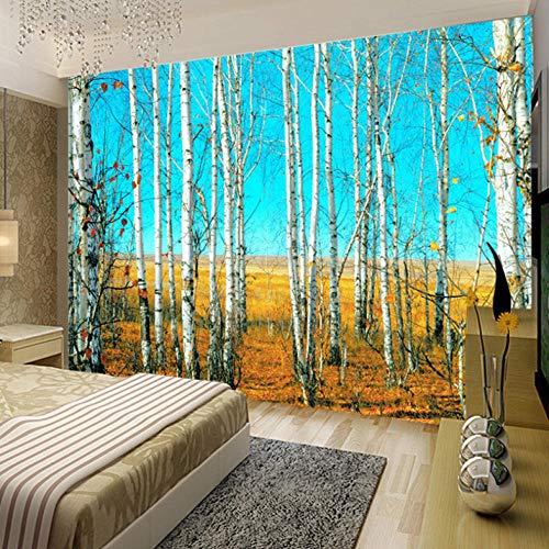 Aangepaste grootte HD Berkenbos 3D Natuur Landschap Fotobehang Grote muur Schilderij Achtergrond Woonkamer Mural Wallpaper 280x200cm