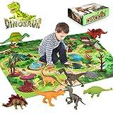 Laelr Figure di Giocattoli di Dinosauro attività Gioco Mat Alberi Rocce 9 Pezzi Dinosauro educativo Realistico Set da Gioco ABS Non tossico Gioco Dino Pack Giocattoli Figure di Creature preistoriche