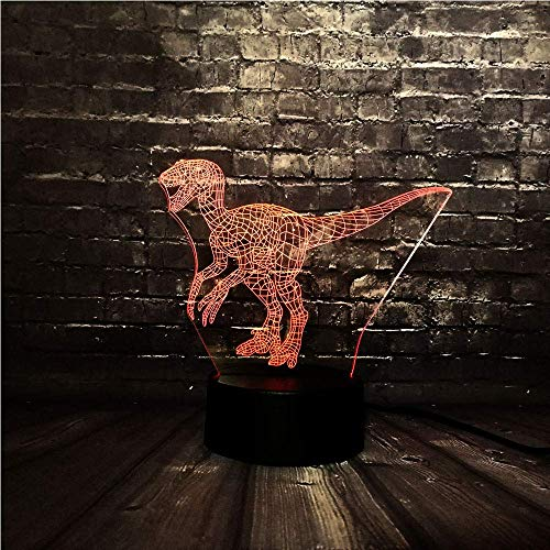 Animal Dinosaurio 3D Lámpara de ilusión LED Luz nocturna Mesita de noche óptica Luces nocturnas 16 Cambio de color Botón táctil Decoración Lámparas de escritorio,