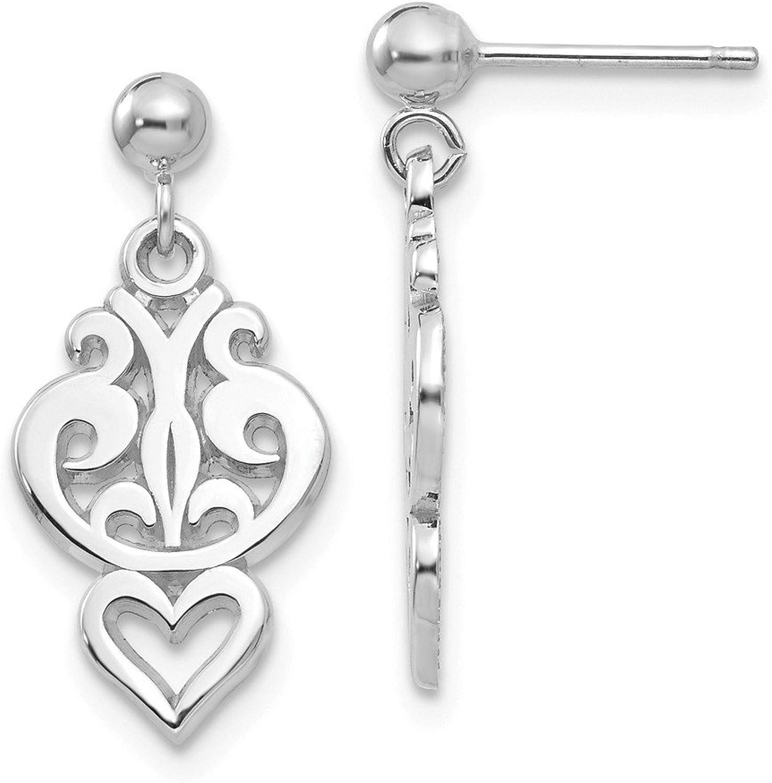 Beautiful White gold 14K 14k White gold Filigree Heart Dangle Earrings
