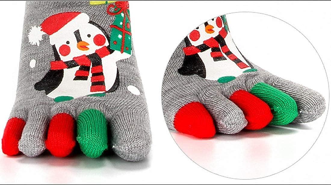 Wowsoul Womens Five Toes Christmas Socks Colorful Stripe Rainbow Socks One Size