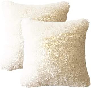 LIFEREVO 2 Pack Shaggy Plush Faux Fur Decorative Throw Pillow Cover Velvety Soft Cushion Case 18 x 18 Inch, Light Beige