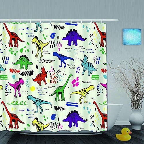 Marutuki Duschvorhang,grafisches Farbvektormuster der lustigen Dinosaurier,personalisierte Deko Badezimmer Vorhang,mit Haken,180 * 180