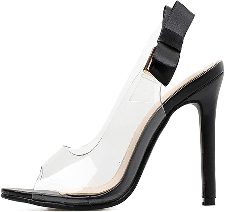Ches Women Sandals 2019 Butterfly-Knot Clear Stilettos Slingback PVC Sandals Wedding Dress Pumps shoes Size 35-40