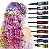 Arteza Peines de tiza de colores para el pelo - 10 colores temporales de cabello, perfectos para fiestas, Halloween, disfraces, festivales, teatro y más. Incluye guantes y capa