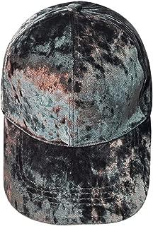 Baseball Caps Vintage Crushed Velvet Unisex Women Men Adjustable Basketball Hat Soft Cap (Gray)