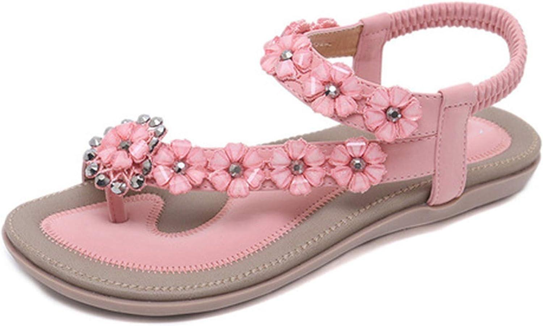 Little SU Ladies Flat Sandals Clip Toe T-Strap Bohemia Women Sandals Flats Flip Flops Beach Holiday