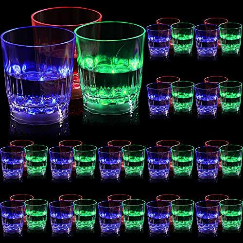 Leuchtend Tasse LED Blitz Leuchtend Trinkgläser Bar Nachtclub Party Getränkebecher Mehrfarbige LED Becher für Geburtstage Hochzeit Sport Veranstaltungen Festival Indoor Bar (45 Stück)