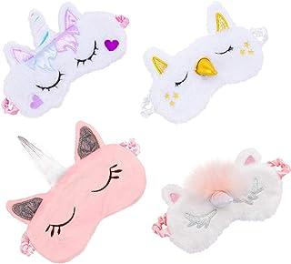 Biubee 4 Pack Soft Plush Unicorn Sleeping Mask- Cute Unicorn Horn Blindfold Eye Cover for Women Girls Travel Nap Night Sleeping